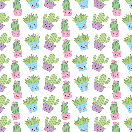 House plant in pot with smile pattern character vector illustration design Illustration