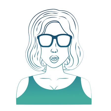 woman whit short hair and eyeglass character pop art style vector illustration design