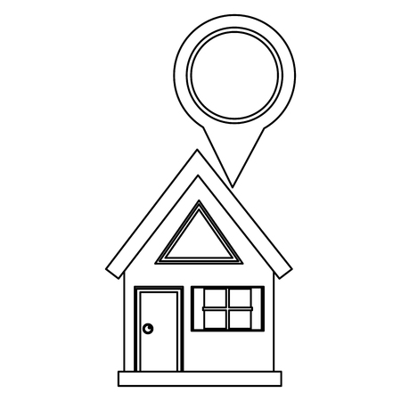 house with pin pointer location isolated icon vector illustration design