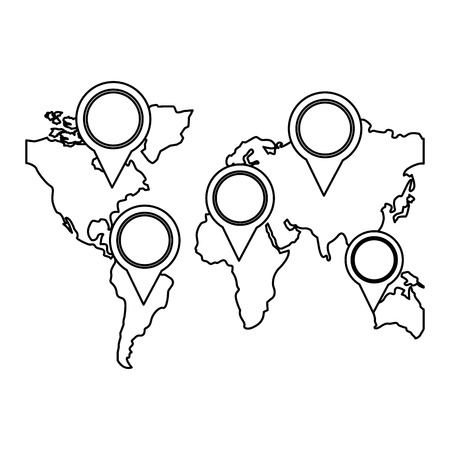world maps with pin pointer location vector illustration design