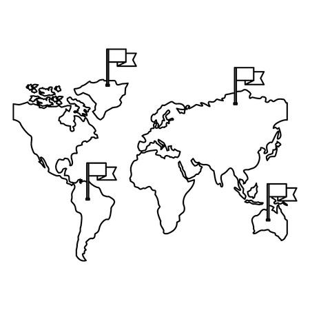 world maps with flags in sticks vector illustration design  イラスト・ベクター素材