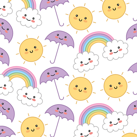 rainbow with sun and umbrella pattern  character vector illustration design