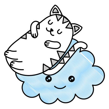 cute cat sleeping with cloud  character vector illustration design Stock Illustratie