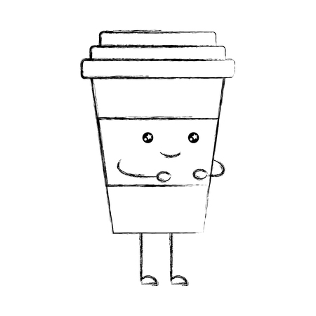 coffee drink  character vector illustration design