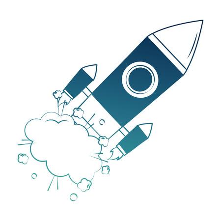 start up rocket pop art style vector illustration design Ilustração