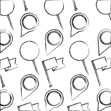 pin pointer location with flags pattern vector illustration design