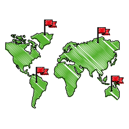 world maps with flags in sticks vector illustration design Illustration