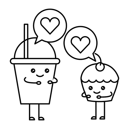 couple milk shake and cup cake with speech bubble  character vector illustration design Ilustração