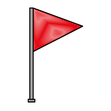 flag marker in shape triangle with stick isolated icon vector illustration design