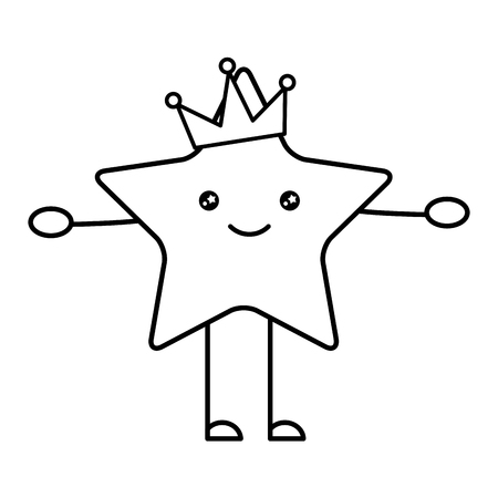 happy star with crown cartoon vector illustration
