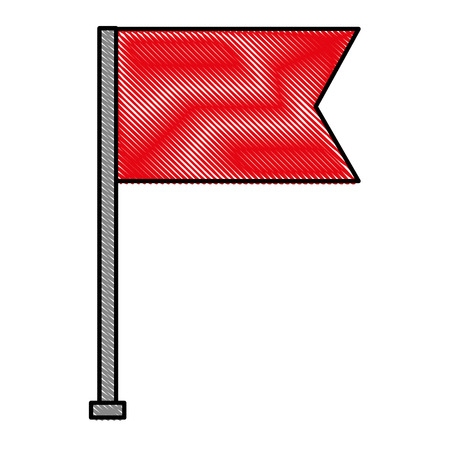 flag marker in stick isolated icon vector illustration design 일러스트