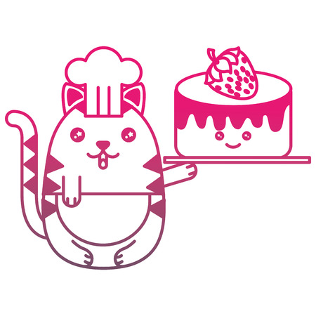 chef cat with sweet cake cartoon vector illustration gradient color