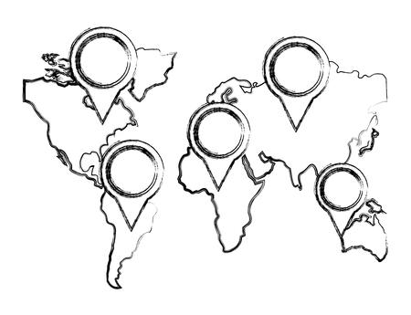 pointers direction gps navigation world map vector illustration sketch