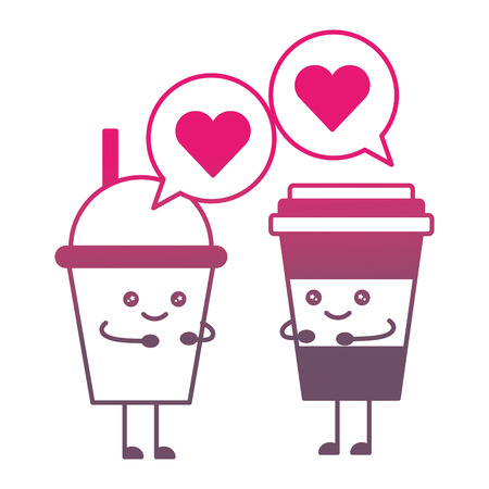 soda and coffee cups adorable cartoon vector illustration gradient color
