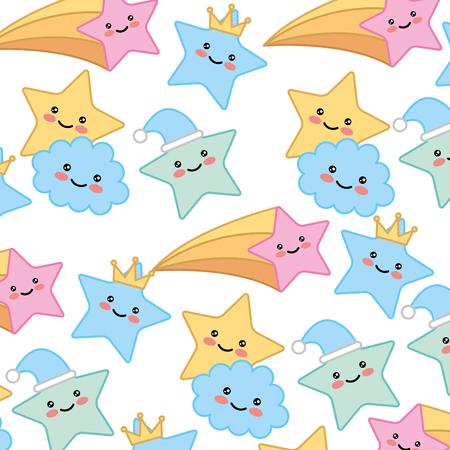 cute clouds star crown decoration background vector illustration Foto de archivo - 100565600