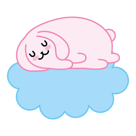 cute rabbit sleeping in the cloud vector illustration