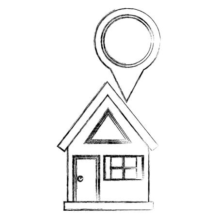 navigation gps location house pin map vector illustration sketch Ilustração