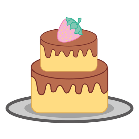 sweet cake strawberry chocolate dessert vector illustration
