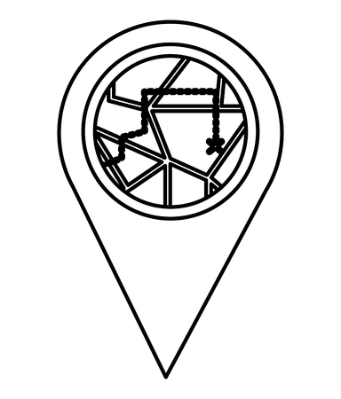 pin pointer location with route vector illustration design 向量圖像