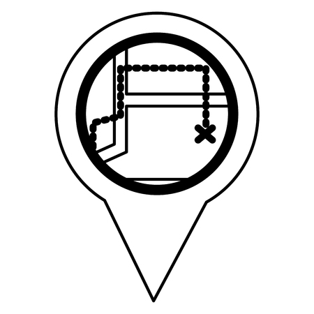 pin pointer location with route vector illustration design Illustration