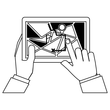 hands using tablet with gps application vector illustration design
