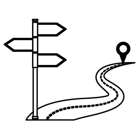 way road with location pin and arrows sign vector illustration design