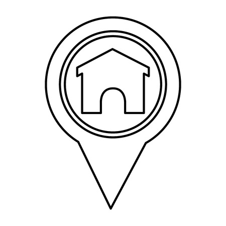 pin pointer location with house vector illustration design