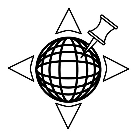 sphere planet with pin pointer vector illustration design  イラスト・ベクター素材