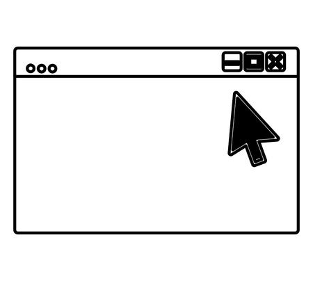 web site page internet cursor arrow vector illustration