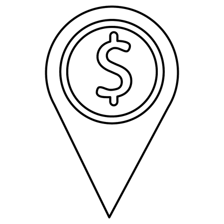 pin pointer location with money sign vector illustration design Illustration