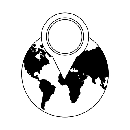 world planet with pin location vector illustration design 일러스트
