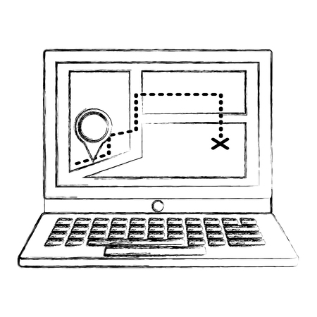 laptop with position gps navigation route vector illustration