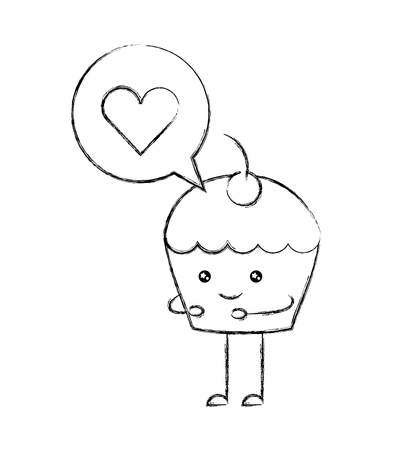cupcake love bubble cartoon vector illustration