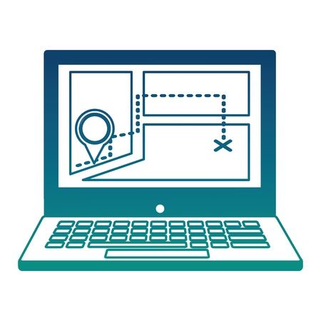 laptop with gps application vector illustration design