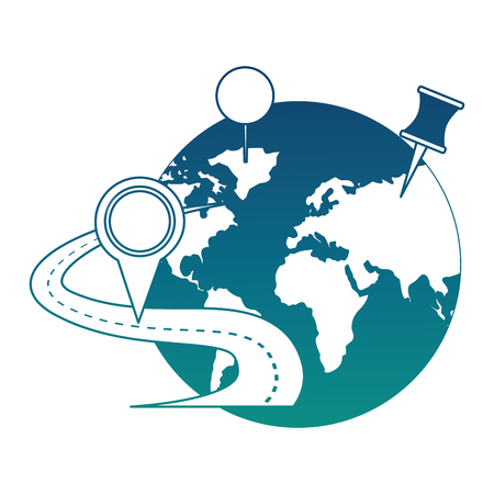 world planet with road and pin location vector illustration design 일러스트