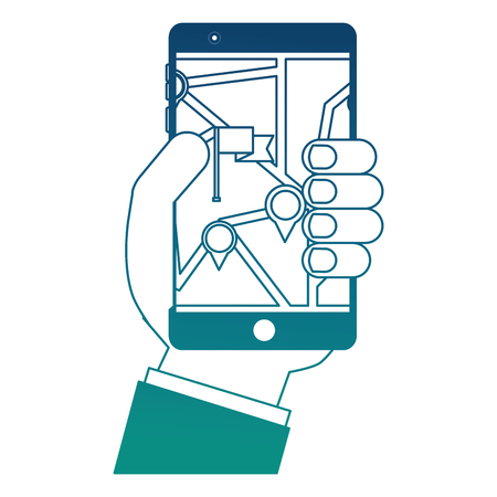 hand using smartphone with gps application vector illustration design