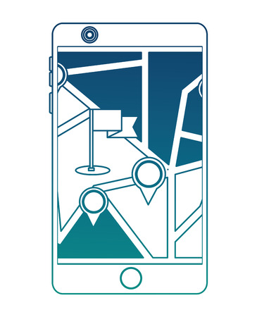 tablet with gps application vector illustration design