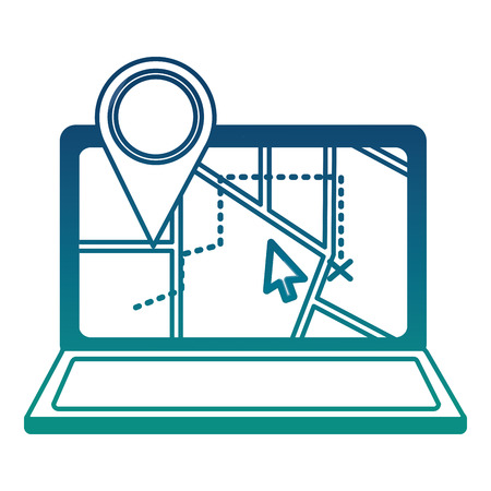 laptop with gps application and pin location vector illustration design Stock Illustratie