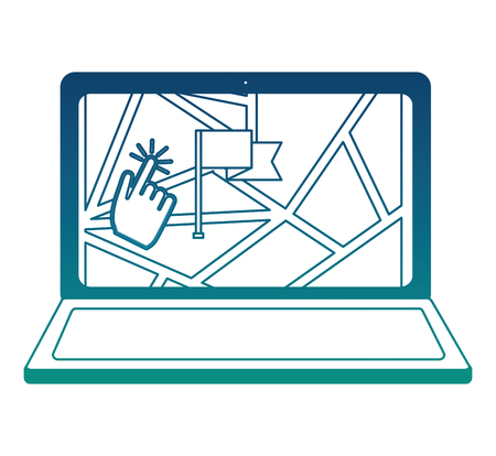 laptop with gps application and flag location vector illustration design