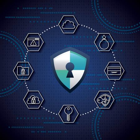 cyber security connection locked safety key binary circuit shield protection vector illustration
