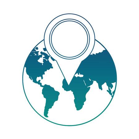 world planet with pin location vector illustration design Illustration