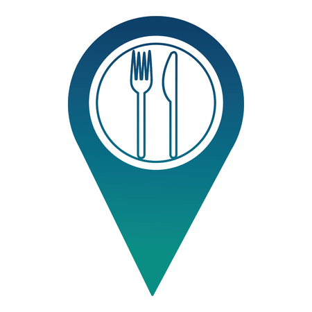 pin pointer location with restaurant sign vector illustration design