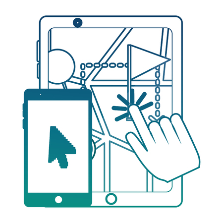 tablet and smartphone with gps application vector illustration design Stock Illustratie