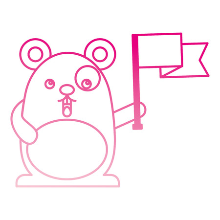 cute hamster with flag  character vector illustration design