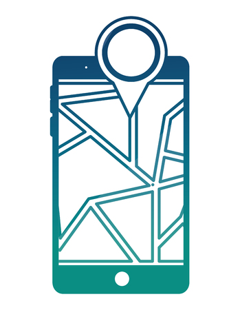 smartphone with gps application and pin pointer vector illustration design