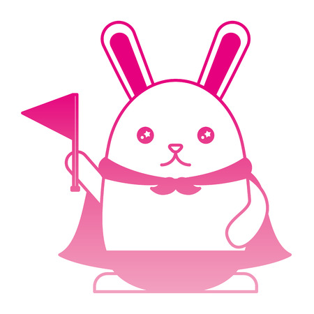 cute rabbit with cloak and flag   character vector illustration design