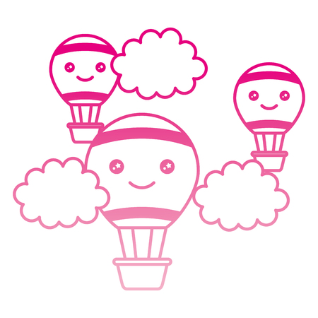 balloons airs hot flying with clouds character vector illustration design