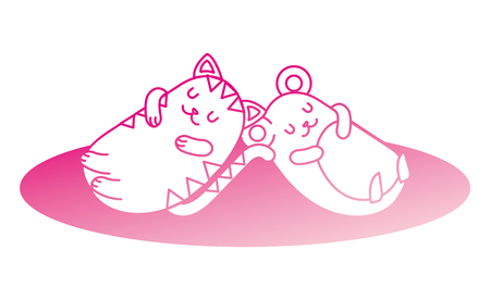 cute hamster and cat sleeping  character vector illustration design