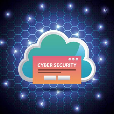 cyber security blue hive binary circuit background cloud access password vector illustration