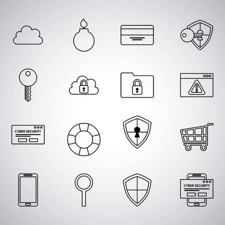 cyber security stickers padlock cloud locked safety alert field shop search vector illustration